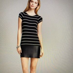 Bailey 44 Striped Dress with faux leather bottom